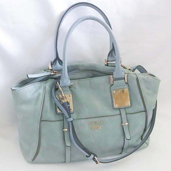 09d118d3b4bc Blue Gray Guess Satchel Bag Strap Silver Hardware